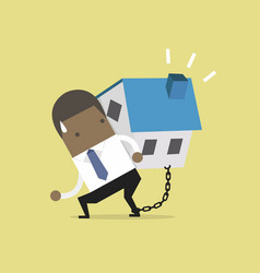 businessman carry his house debt with chained vector image