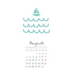 Calendar 2018 months august week starts sunday vector