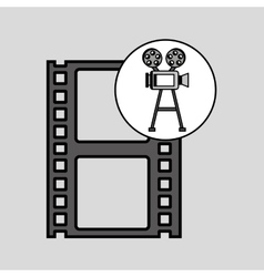 Camera film vintage with movie film strip vector