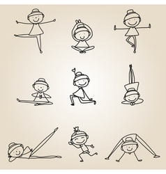 Cartoon happy people yoga work-out vector