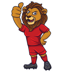 cartoon lion soccer mascot showing thumb up vector image