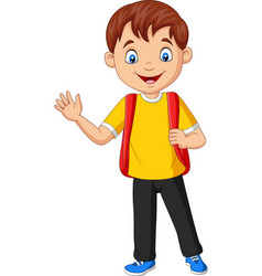 cartoon school boy carrying backpack waving hand vector image