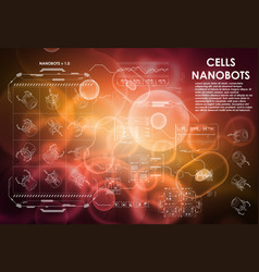 cell background with futuristic interface elements vector image