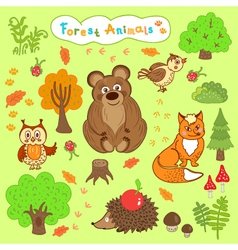 Children is drawings cute forest animals vector
