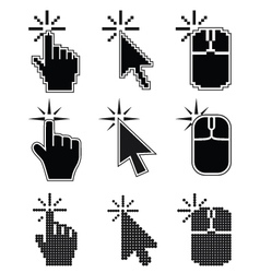 Click here mouse cursors set vector
