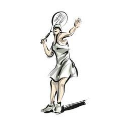 color line sketch woman playing tennis vector image