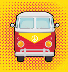 Colorful hippie bus cartoon vector