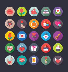 Colourful flat icons set of love and valentine vector