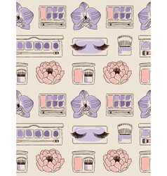 Cosmetics seamless pattern hand drawn Blush eye vector