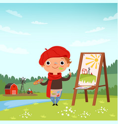 creative childrens little artist making pictures vector image