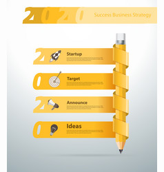 Creative pencil new year 2020 calendar banner vector