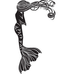 Crying mermaid stencil for stickers vector