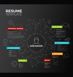 Dark original minimalist cv resume template vector