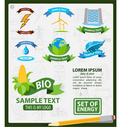energy logos energy infographics logos with ribbon vector image