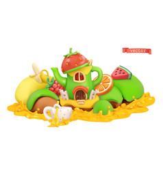 fairytale house sweet fruits 3d cartoon vector image