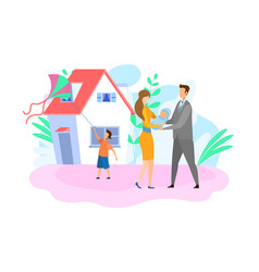 Family with children flat vector