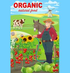 Farmer on farm agriculture countryside worker man vector