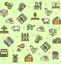 farming color linear icons set vector image