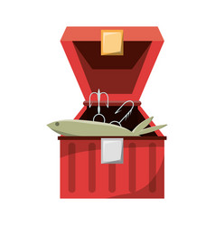 Fisherman box isolated vector