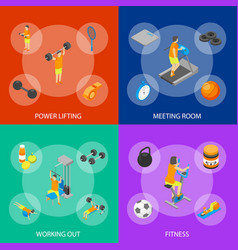 fitness club concept 3d isometric view vector image