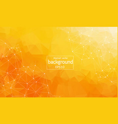 geometric orange polygonal background molecule vector image