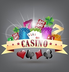 Gold ribbon and gambling elements with casino vector image