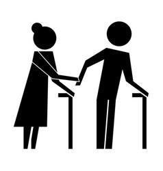 grandparents couple avatars silhouettes vector image