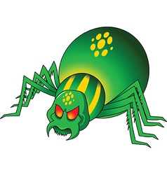 Green spider cartoon vector image