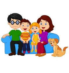 Happy family sitting on sofa vector image