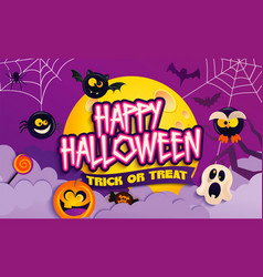 Happy halloween party banner with scary characters vector