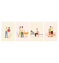 happy maternity set with parents characters flat vector image