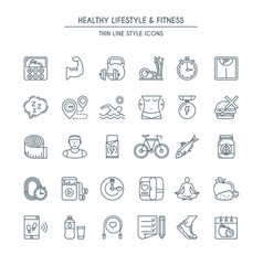 Healthy lifestyle thin line icons vector