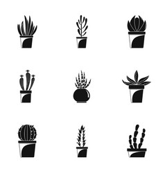 home cacti pot icon set simple style vector image