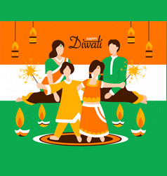 indian family celebrating diwali together vector image
