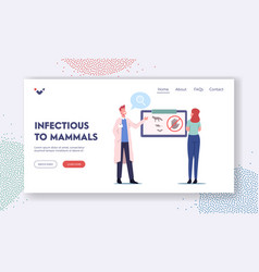 Infectious mammals landing page template medical vector