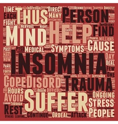 Insomnia Through Trauma text background wordcloud vector