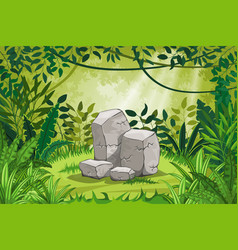Jungle landscape with stones vector