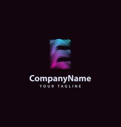 letter e modern wave line logo design template vector image