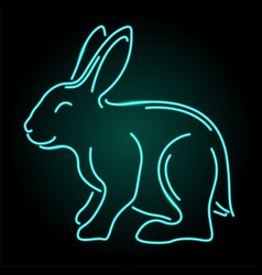 Line art with shiny blue neon rabbit silhouette vector