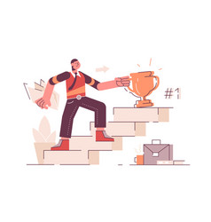Man on career ladder vector