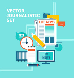 Mass media broadcasting news set vector