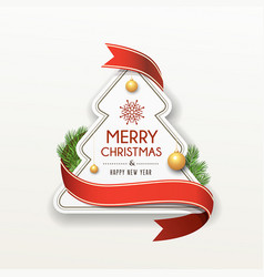 merry christmas paper red ribbon label design vector image