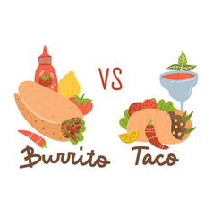 mexican food set burrito vs taco colored vector image