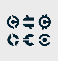 Modern professional set currency icons vector
