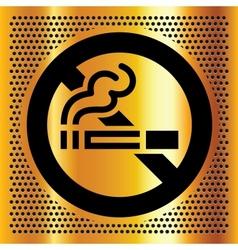 No smoking symbol on a gold backdrop vector