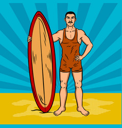 Old fashioned surfer pop art vector