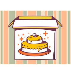 Open box with icon of cake on striped pa vector