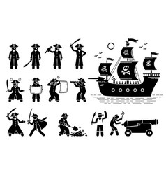 pirate poses and ship stick figure pictogram vector image