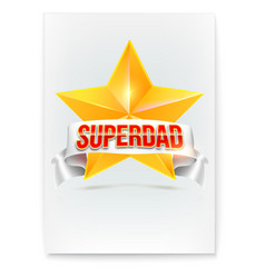 poster for super dad stylish glossy text super vector image