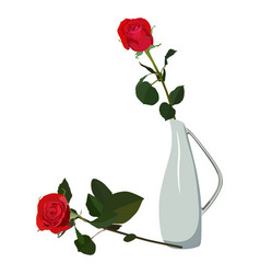 Red rose in vase flat isolated vector